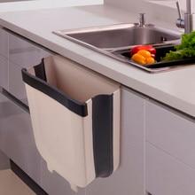 Folding Waste Bin Kitchen Cabinet Door Hanging Trash Bin Trash Can Wall Mounted Trashcan for Bathroom Kitchen Toilet Waste Box
