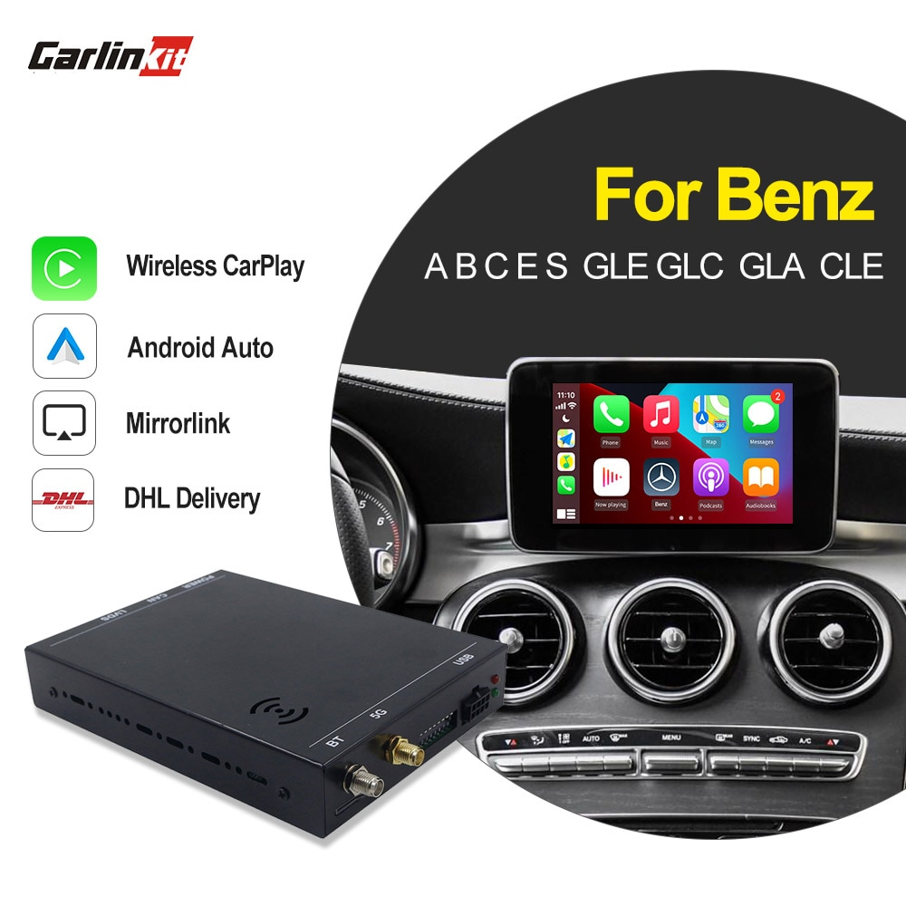 Carlinkit 2.0 اللاسلكية السيارات الذكية صندوق لمرسيدس بنز 2011-18 NTG 4.5 4.7 5.1 5.2 CarPlay أندرويد السيارات دعم عكس الكاميرا