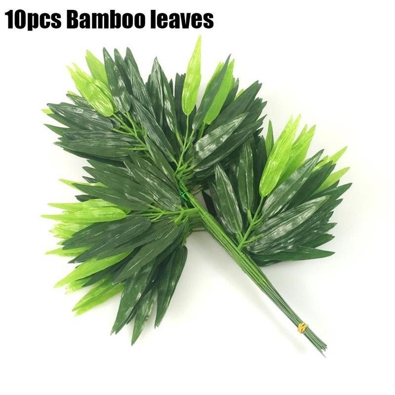 10 Uds 45cm hojas de bambú verdes falsas hoja de bambú Artificial para el hogar sala de estar jardín decoración plantas falsas plantas de plástico Prop