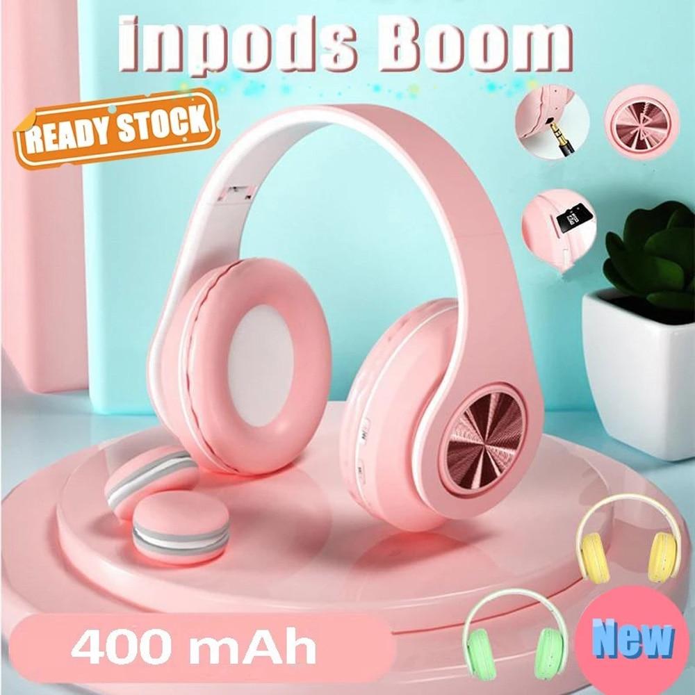 Wireless Bluetooth Headset With Microphone HandsFree Music Headphones with Mic Luminous Macaron HiFi Sound  for Xiaomi iPhone