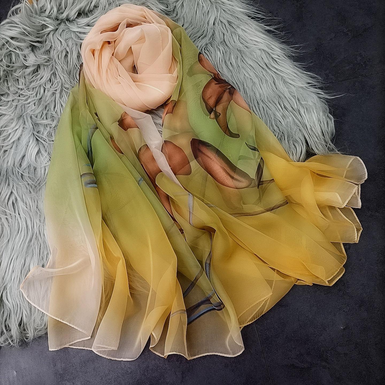 180*140cm Fashion Chiffon Scarves Silk Scarf Women Large Long Soft Sunscreen Scarf Scarves Wrap Beach Shawl недорого