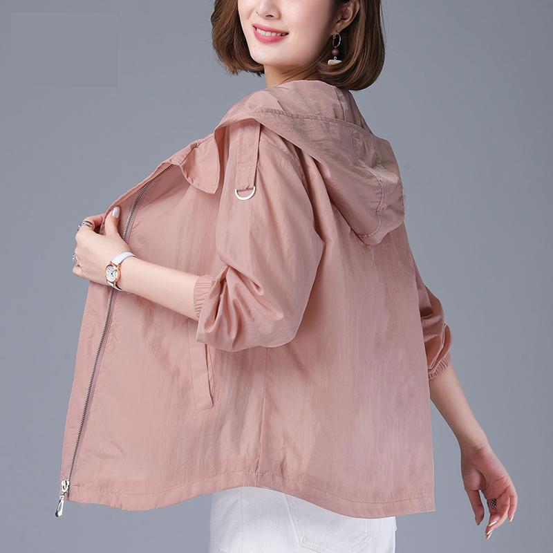 2020 Summer Thin Sun protection Jacket Women Coat Hooded Windbreaker Female Casual Zipper Jacket Basic Coats Outerwear P739