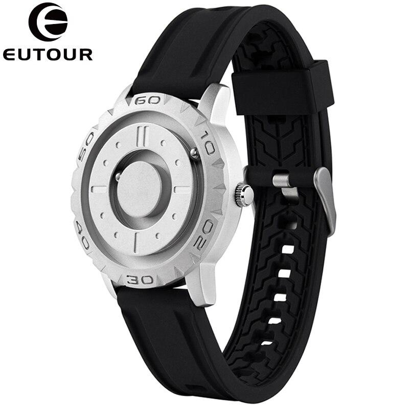 ¡Novedad! Reloj multifunción de Metal magnético EUTOUR en plata negra, Reloj deportivo de cuarzo para hombre