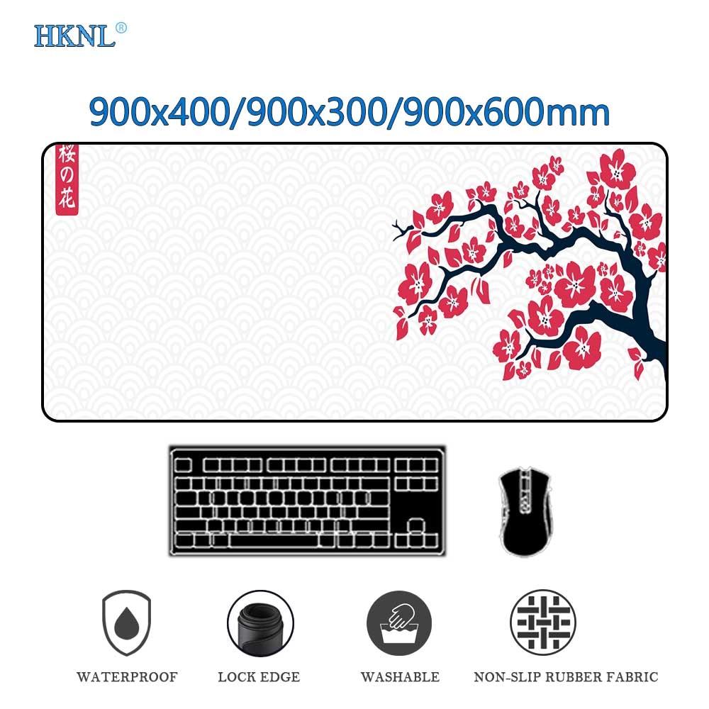 الكرز زهر الماوس حصيرة ماوس الوسادة Xxl مسند للوحة المفاتيح على الجدول منصات سجادة مكتب مكتب الحصير قطعة البساط Deskpad Mousepad 900x400