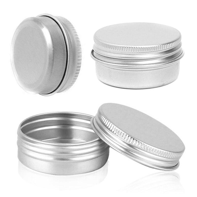Caja de lata, recipientes recargables, pequeños latas de aluminio para cosméticos, frascos de almacenamiento, frascos vacíos para cosméticos, tornillo superior, contenedores de muestra para viaje