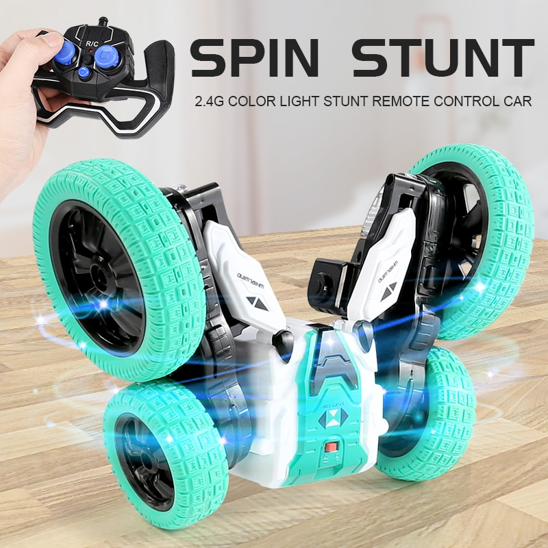 2.4G RC Spinning Stunt Car 360 Degree Rolling Double-sided Four-channel Drift Rally Mini Race Kids E