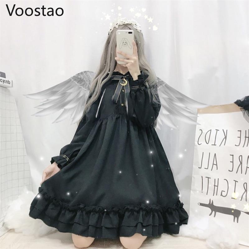 Gothic Lolita Dress Soft Sister Women Vintage Dark Cute Bow Moon Ruffled Tea Party Dress Victorian Sweet Princess Fairy Clothes