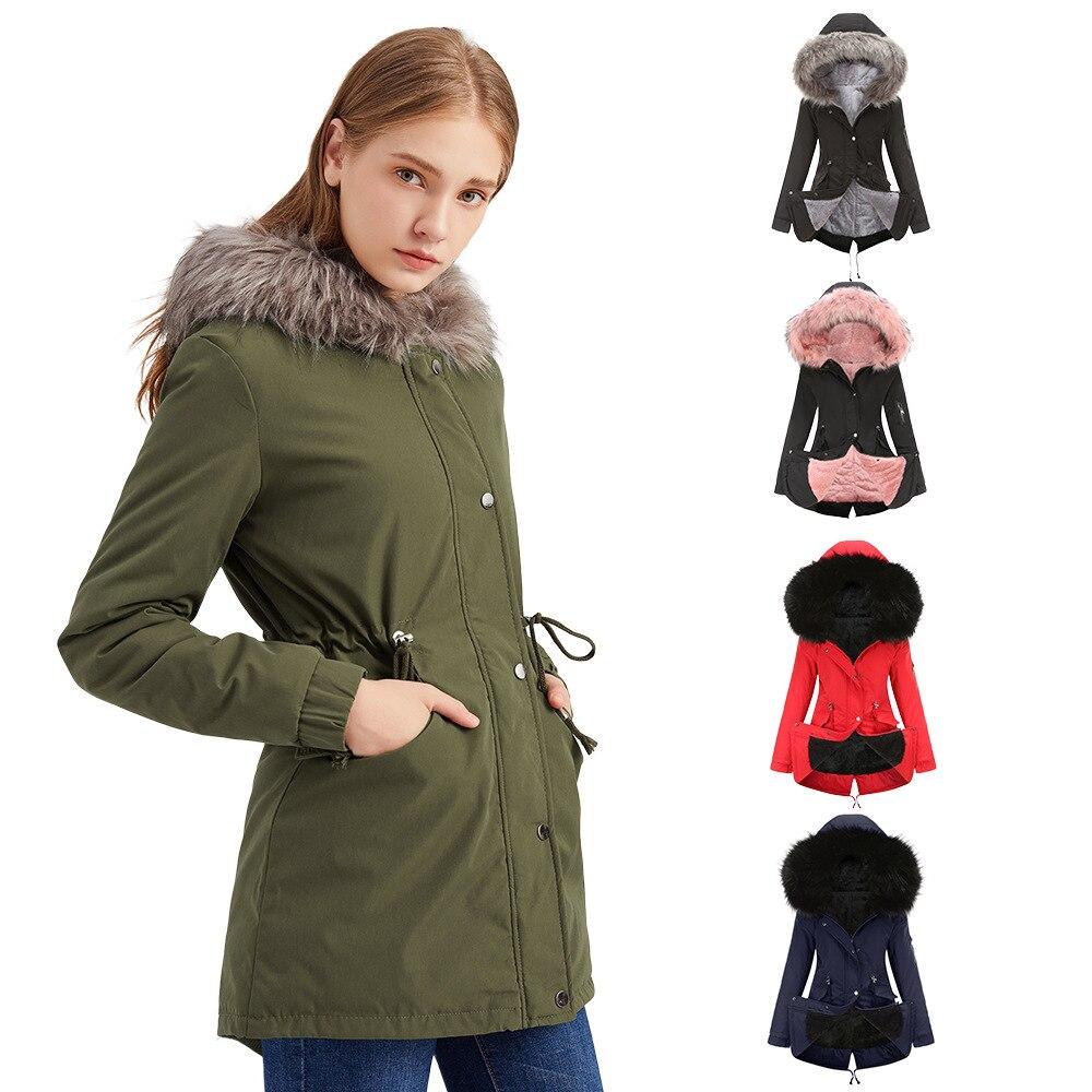 Фото - Пальто, хлопковое пальто, зимнее теплое пальто средней длины с капюшоном, флисовое пальто с хлопковой подкладкой пальто средней длины с капюшоном