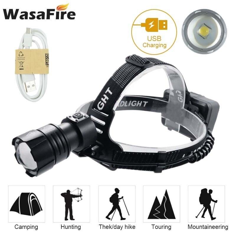 Zoomable XHP70.2 phare 7000 Lumens USB Rechargeable phare blanc jaune lumière LED tête torche lampe 18650 frontale lampe de poche