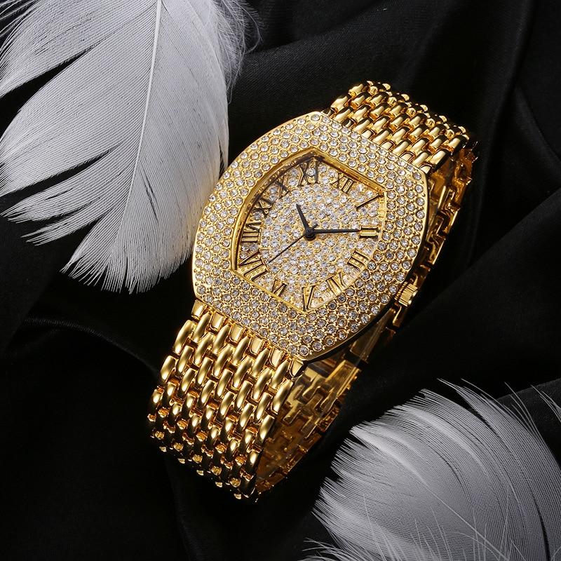 Cacaxi Luxury Diamonds Women Watch Gold Tonneau Shape Ladies Bracelet Watches Fashion Quartz Wristwatch Relojes Para Mujer Clock anke store new womens bracelet watch diamond small dial fashion luxury elegant quartz gold women watches relojes para mujer