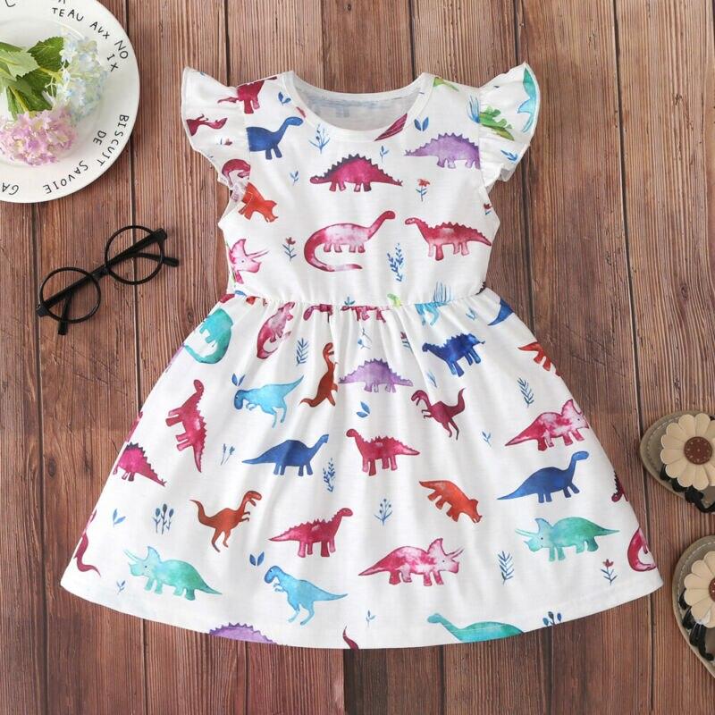 Vestidos estampados de dinosaurio para bebés y niñas pequeñas, vestidos de princesa sin mangas de cintura alta, vestidos de fiesta