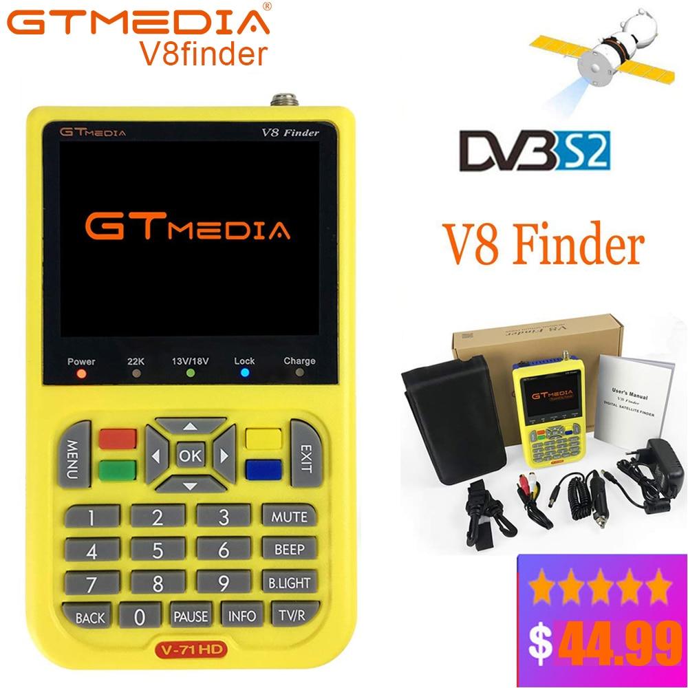GTMEDIA V8 DVB-S2 DVB-S FTA Digital Satellite Finder SatFinder Ferramenta LCD TFT HD Metros Localizador de Satélite Sentou Localizador De Sinal lnb mete