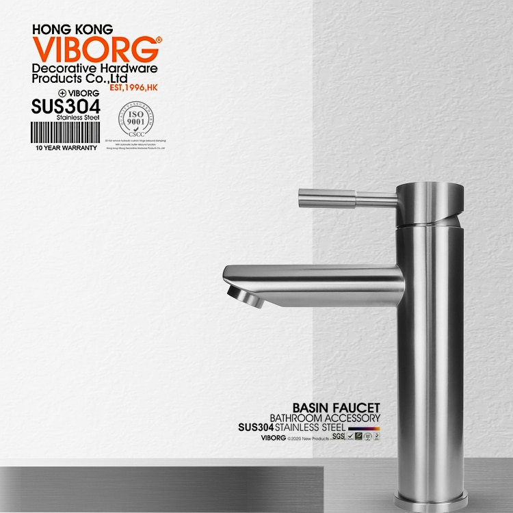 Viburg-حنفية خلاط للحوض والمغسلة ، مصنوعة من الفولاذ المقاوم للصدأ ، صلبة ، خالية من الرصاص ، بمقبض واحد ، فاخرة ، SUS304