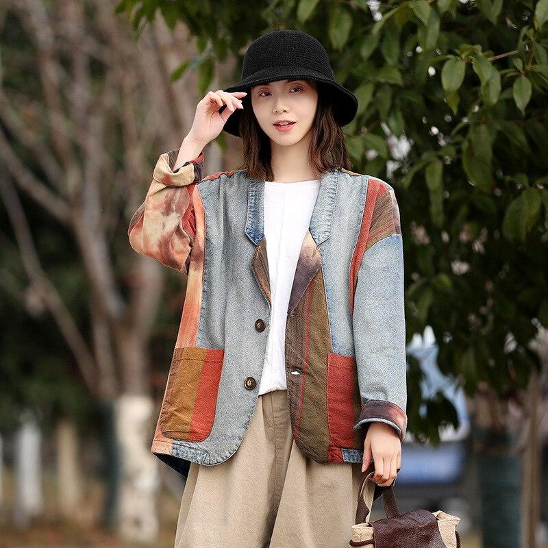 Винтажный хлопковый джинсовый пиджак, женский костюм с воротником, контрастный клетчатый Топ, весенний Блейзер 2020