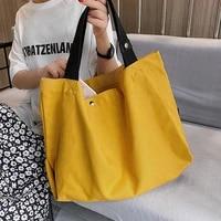 veryme fashion large capacity canvas handbag casual simple shoulder womens pack solid color female shopping bag torebki damskie