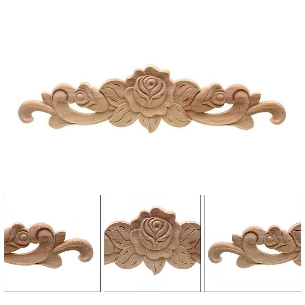Vintage, sin pintar, molduras de madera, calcomanía rectangular de madera para muebles, decoración Natural para armarios, accesorios de tallado, apliques R5C7