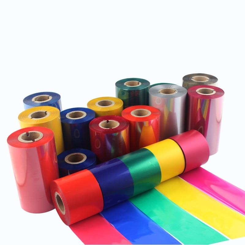 Naranja púrpura amarillo DK verde Color rojo rosa cinta de cera Cinta de transferencia térmica para etiqueta de papel de la impresora de cinta de código de barras