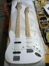 Najwyższej jakości FPDN-0011 biały kolor z litego ciała klon podstrunnica 4/6 struny Double neck gitara elektryczna, darmowa wysyłka