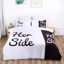 Her Side His Side Bedding Set black white color Love Duvet cover Bed Linen Queen King Size Bedclothes 3PCS