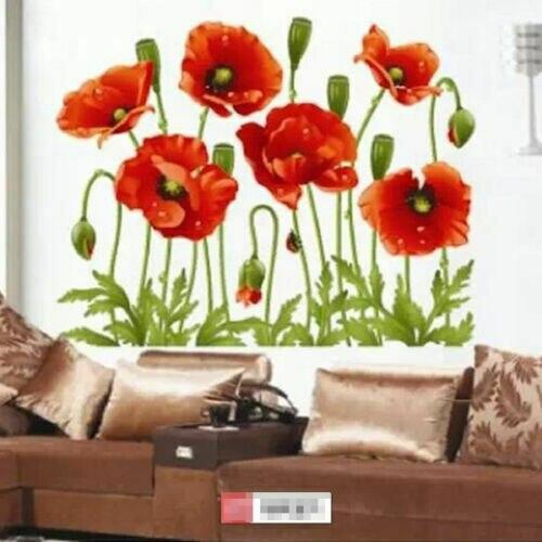 2019 moda marca nuevo caliente rojo flores pegatinas de pared calcomanías niños chica habitación decoración arte decoración de flores