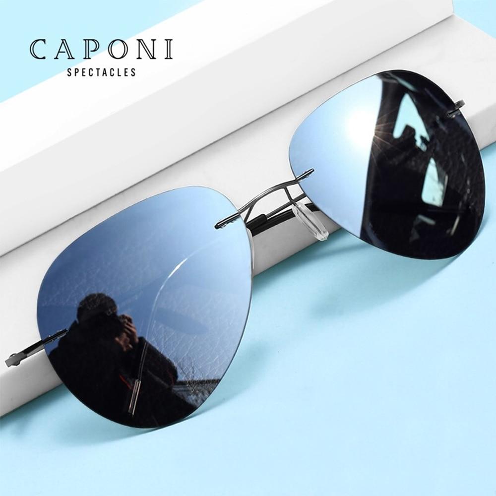 نظارات شمسية كابوني بدون إطار للرجال تلون القيادة الصيد الاستقطاب النظارات الشمسية خفيفة الوزن ظلال الذكور BS7466