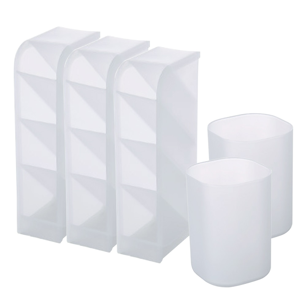 Pen Storage Set Holder Desk Organiser Translucent White Plastic Christmas for Office School Home Supplies 5PCS