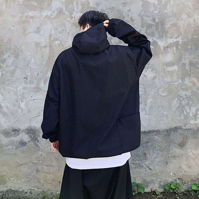 Ropa de calle japonesa para hombre Hip Hop suelta Casual cordón negro con capucha pulóver Chaqueta Hombre gótico bombardero abrigo ropa de abrigo