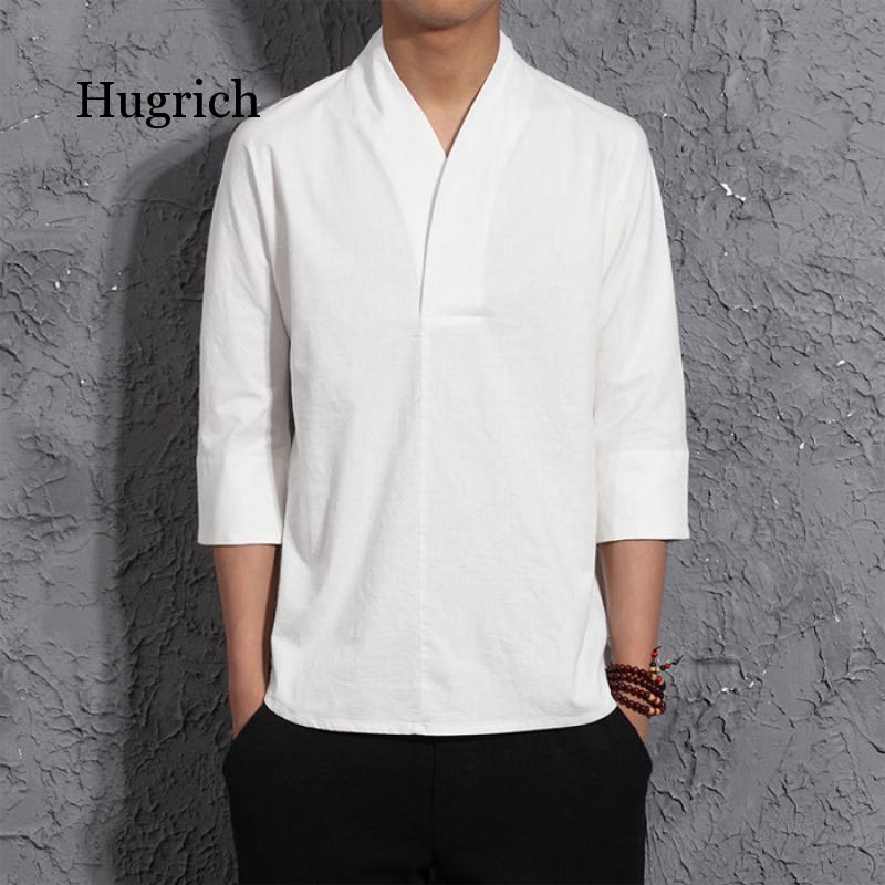2021 New Summer Spring Fashion Mens Kimono Shirts  Loose Seven-quarter Sleeve Shirt Men Blouse Brand Clothing