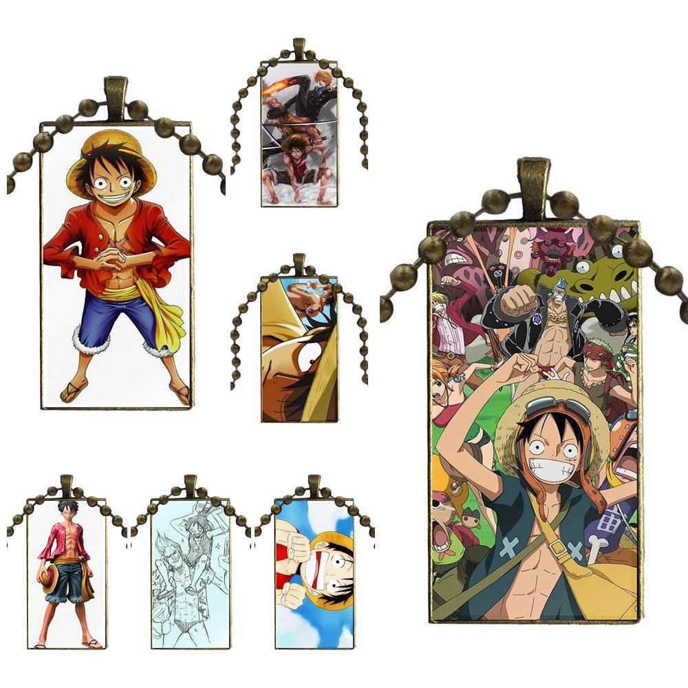 Para regalo de fiesta Unisex mono D Luffy 10 cristal cabujón gargantilla colgante collar con dije de rectángulo acero Color joyería