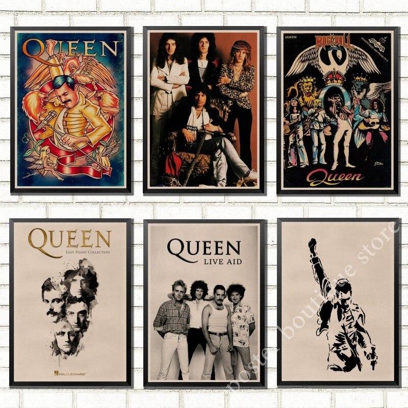 Banda rainha música kraft cartaz de papel freddie mercúrio, brian may desenho do vintage de alta qualidade núcleo decorativo pintura adesivo parede
