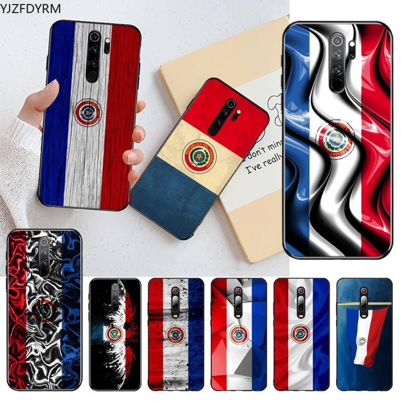 Kpusagrt paraguai bandeira preta caso de telefone celular para redmi nota 9 8t 8a 7 6 6a ir pro max redmi 9 k20 4x