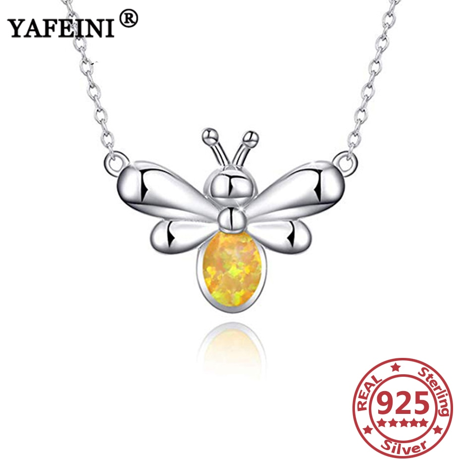 YAFEINI 925 collares de plata esterlina con colgante de abeja, collar de ópalo creado, regalo para mamá, regalo del Día de la madre, collares colgantes de plata 925