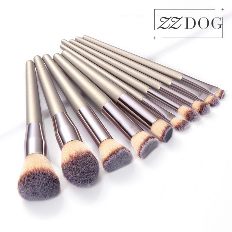 ZZDOG 1Pcs Cosmetics Brushes Fluffy Powder Foundation Eye Shadow Blush Eyelash Blending Champagne Gl