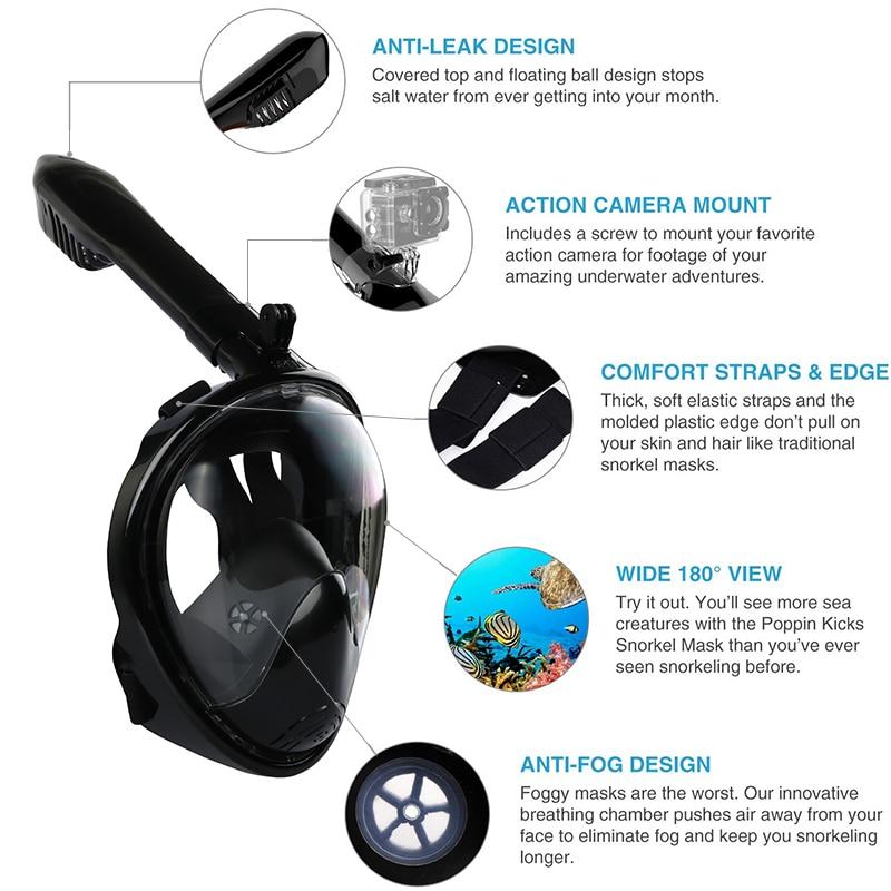 Podvodna potapljaška maska za celotno obrazno masko za - Vodni športi - Fotografija 2