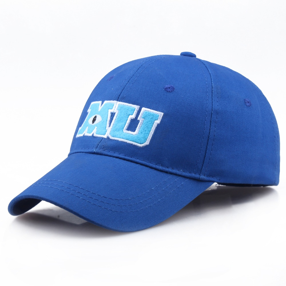 mike monsters Бейсболка Monsters University Sullivan Sulley Mike MU С Вышивкой Букв, синяя кепка, Снэпбэк Кепка, кепки от солнца, шапка для папы