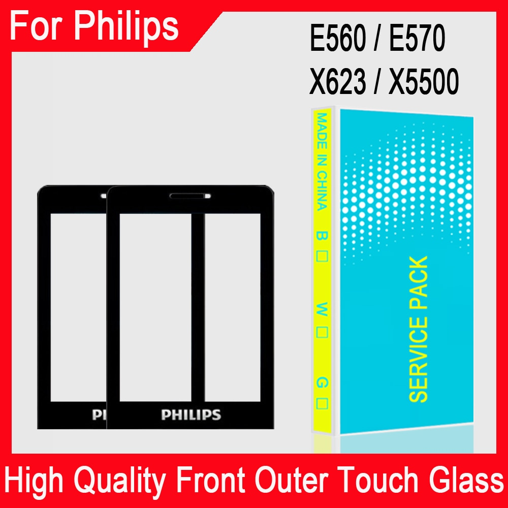 New Original For Philips Xenium E570 E571 X623 X5500 E560 Front Panel Mobile Phone glass Not Touch S