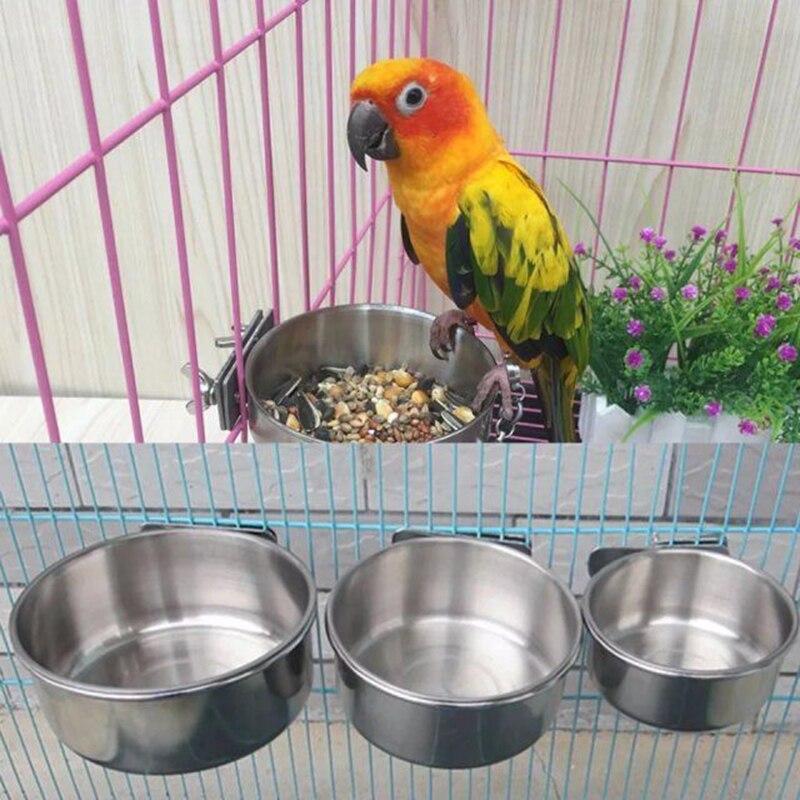 Vogel Benodigdheden Feeders Kom Roestvrij Staal Voedsel Water Voeden Vogel Papegaai Cups Met Klem Kooi Stand Houder Voedsel Kom