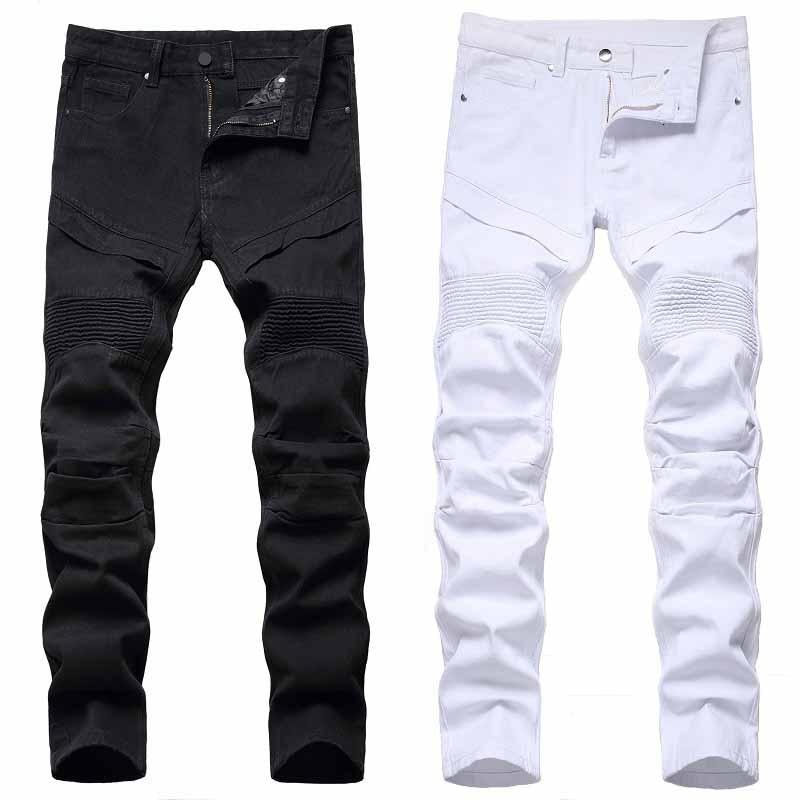 Джинсовые брюки, новинка 2021, модные мужские мотоциклетные брюки, мужские потертые мотоциклетные джинсы, защитные белые черные длинные брюк...