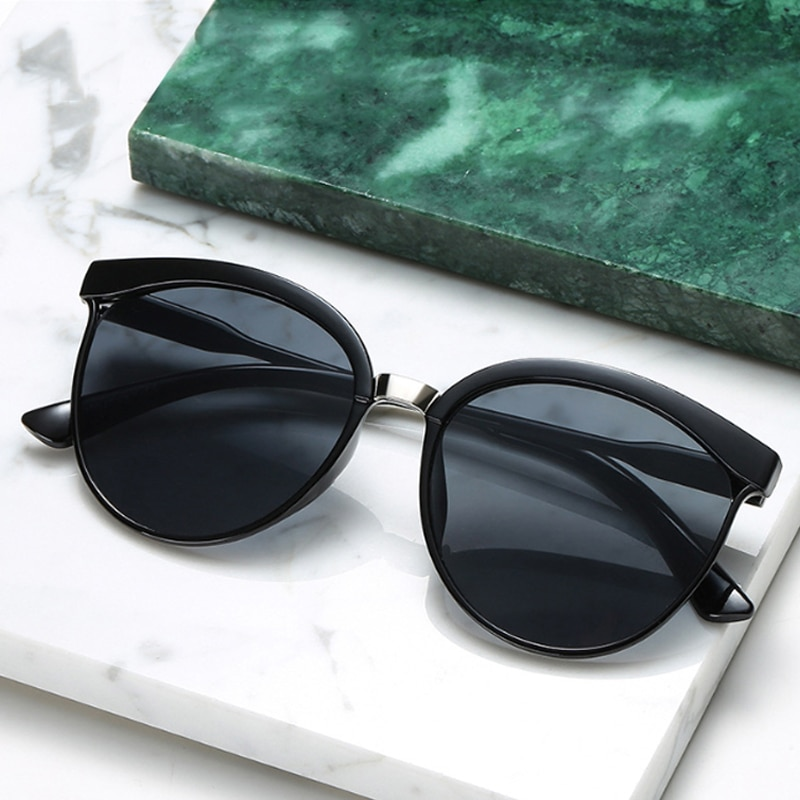 Vintage Black Sunglasses Women Cat Eye Sun Glasses For Women Color Lens Mirror Lady Sunglass Female