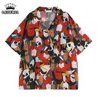 short sleeves womens blouse new 2021 summer streetwear harajuku printing polo collar korean fashion top baggy button up shirts