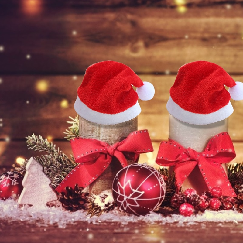 1PCS Velvet Christmas Hat Party For Baby Adult Santa Hats Red Decoration New Year Decoration Kids Gift Holiday Party Supplies