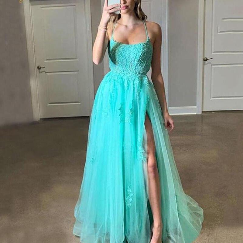 Sexy una línea de encaje Appliqued Corset Vestido largo de baile de graduación con abertura larga 2020 barato mujeres Prom vestidos de fiesta de talla grande vestidos de noche