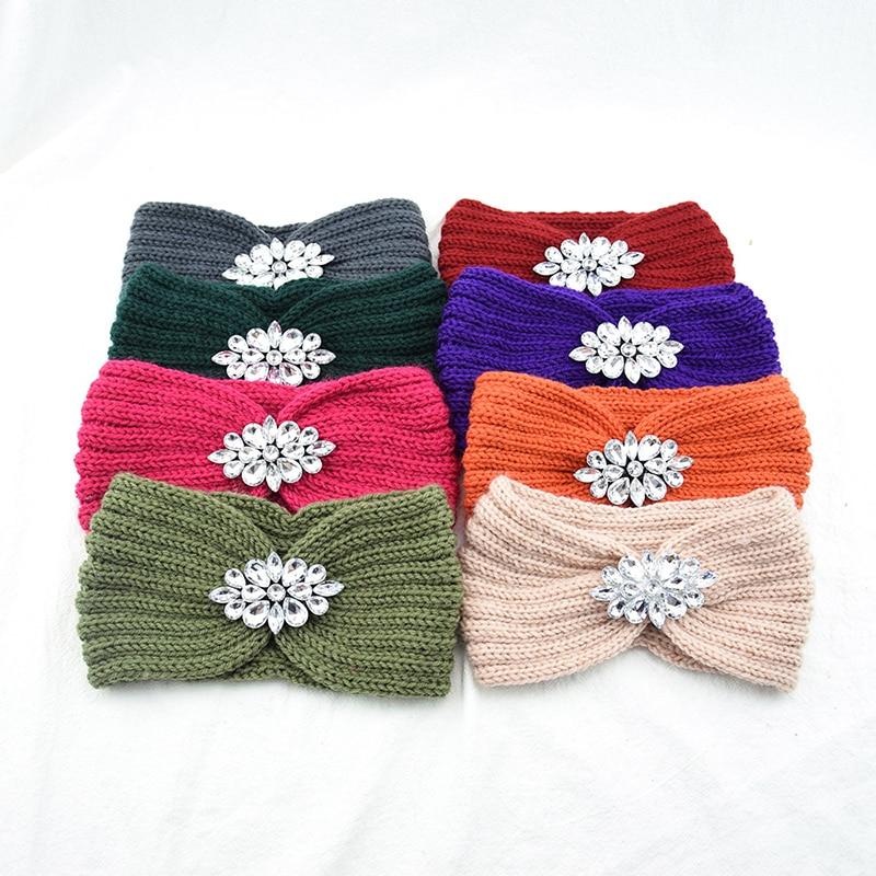 Women Crystal Flower Rhinestone Knitted Headband Twist Crochet Head Wrap Elastic Hair Band Wide Hair Accessories Ear Warmer