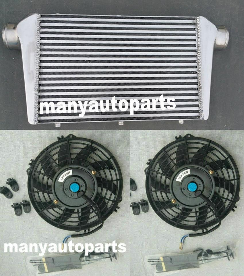 Alumínio intercooler + ventiladores 450x300x75mm montagem dianteira 450*300*75mm barra & placa