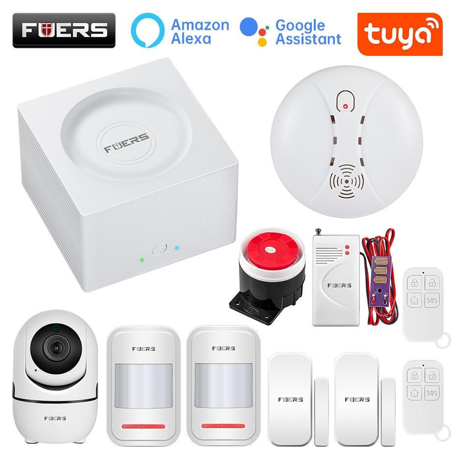 FUERS G95 نظام إنذار واي فاي GSM الذكية الحياة إنذار المنزل نظام إنذار أمان Tuya APP اليكسا 433MHz المنزل الذكي إنذار ضد السرقة