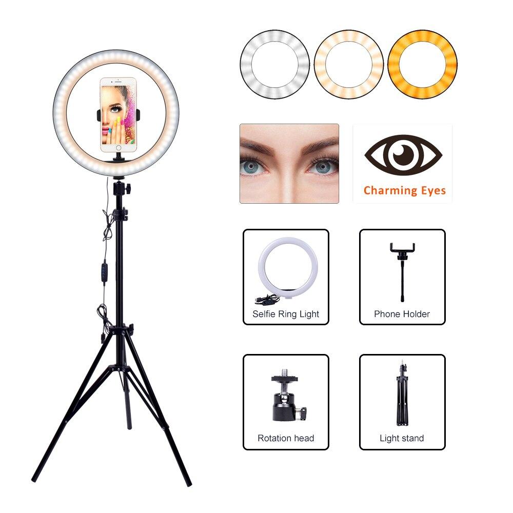 Anel de Vídeo Câmera do Telefone Tripé Suporte Selfie Preenchimento Circular Luz Led Fotográfico Lâmpada Estúdio Iluminação Youtube Tiro 160cm