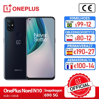 OnePlus Nord N10 5G OnePlus Official Store Première mondiale Version mondiale 6GB 128GB Snapdragon 690 Smartphone 90Hz affichage 64MP Quad Cams chaîne 30T NFC; code:FRFEB8(€80-8);FRFEB12(€100-12);FRFEB20(€180-20)
