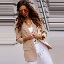 Office Lady Fashion Casual Solid Blazer Women Spring Fall Long Sleeve Coat Jackets Tops