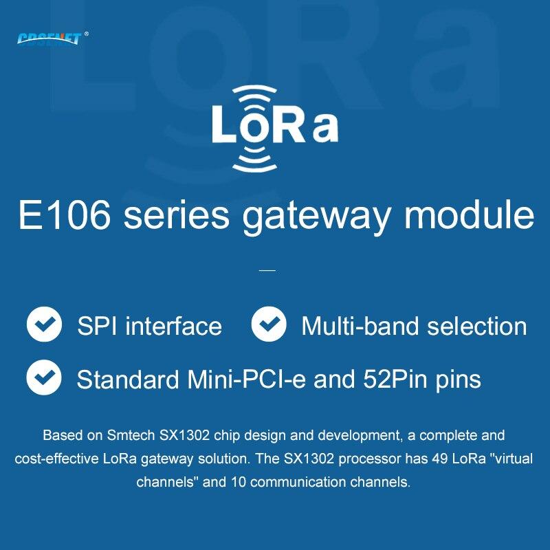LoRa Gateway RF Module SX1302 868MHz  27dBm PCI-e SPI Interface Low Power Consumption CDSENET Industrial Grade E106-868G27P2 enlarge