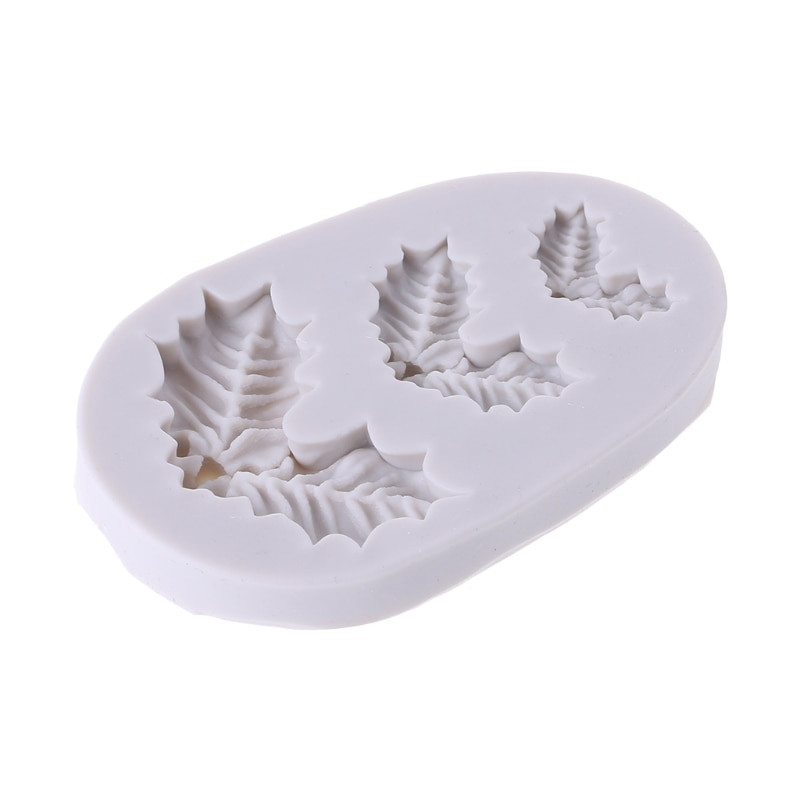 Silicona Navidad acebo hojas artesanías dulces torta Fondant herramienta para moldear 634E